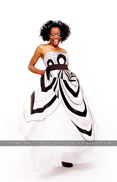 Short Black and White Wedding Dress